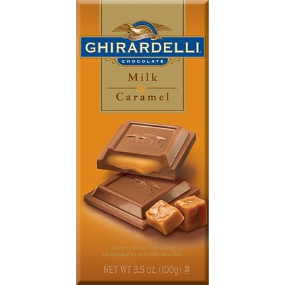 Ghirardelli Chocolate Bars, Milk & Caramel, 3.5 oz., 12 Bars/Box