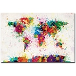 Trademark Global Michael Tompsett Paint Splashes World Map Canvas Art, 30 x 47