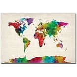 Trademark Global Michael Tompsett Watercolor World Map II Canvas Art, 30 x 47