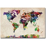 Trademark Global Michael Tompsett Urban Watercolor World Map Canvas Art, 16 x 24