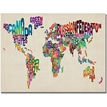 Trademark Global Michael Tompsett Typography World Map II Canvas Art, 18 x 24