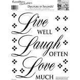 RoomMates® Live Well, Laugh Often, Love Much Quote Peel and Stick Wall Decal, 10 x 13