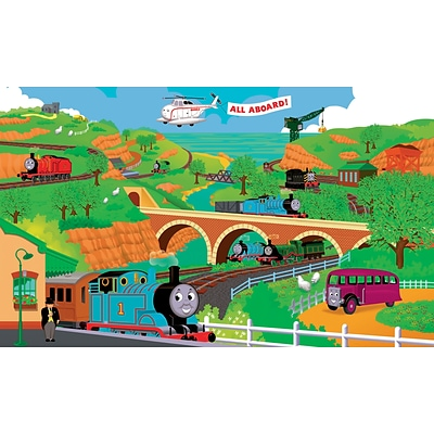 RoomMates® Thomas and Friends Chair Rail Prepasted Wall Mural, 6 ft H x 10 1/2 ft W