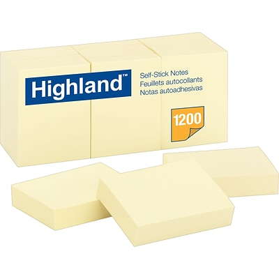 Highland™ Notes, Original Pad, 3 x 5, Yellow