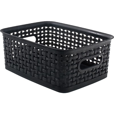 Plastic Weave Bin; Black, Small