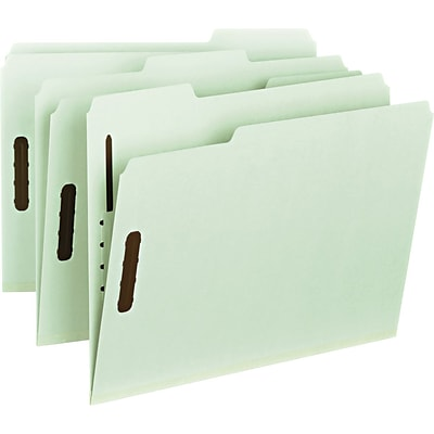 Smead® 100% Recycled Pressboard 3-Tab File Folders, 2-Fasteners, 1 Expansion, Letter, Gray/Green, 25/Bx (15003)