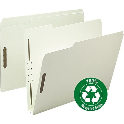 Smead® 100% Recycled Pressboard 3-Tab File Folders, 2-Fasteners, 2 Expansion, Letter, Gray/Green, 25/Bx (15004)