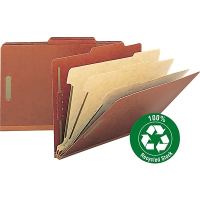 Pressboard Classification Folder, 3 Expansion, 3 Dividers, Legal, Red, 10/Box