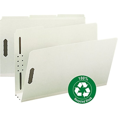 Recycled Pressboard Fastener Folders, Legal,, 3 Expansion, Gray/Green, 25/BX