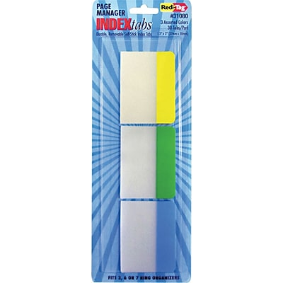 Write-On Self-Stick Index Tabs/Flags, 1 1/2 x 2, Blue, Green, Yellow, 30/Pack