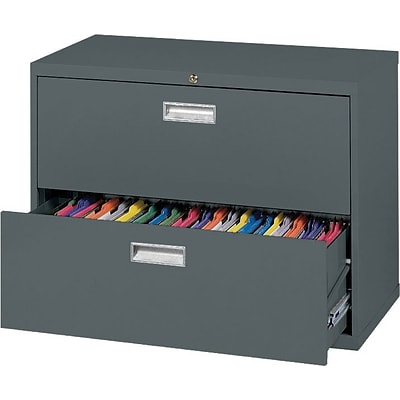Sandusky 36 Lateral File, 2-Drawer, Charcoal