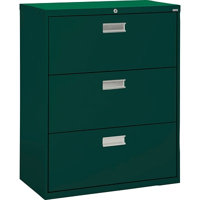 Sandusky 36 Lateral File, 3-Drawer, Forest Green