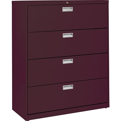Sandusky 36 Lateral File, 4-Drawer, Burgundy