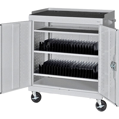 Sandusky Mobile Tablet Storage Cart; Multi-Granite, 43Hx36Wx24D