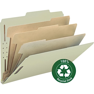 Smead 100% Recycled Pressboard 2/5-Cut Tab Classification Folders, 8-Fasteners, 3-Partitions, Letter, Yellow, 10/Box (14093)