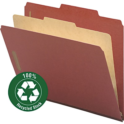 Smead Recycled Heavy Duty Pressboard Classification Folder, 2 Expansion, Letter Size, Red, 10/Box (13724)