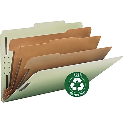 Smead® 100% Recycled Pressboard 2/5-Cut Tab Classification Folders, 8-Fasteners, 3-Partitions, Legal, Gray/Green, 10/Bx (19093)