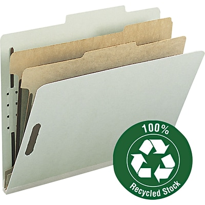 Smead® 100% Recycled Pressboard 2/5-Cut Tab Classification Folders, 2-Fasteners, 2-Partitions, Letter, Gray/Green, 10/Bx (14023)