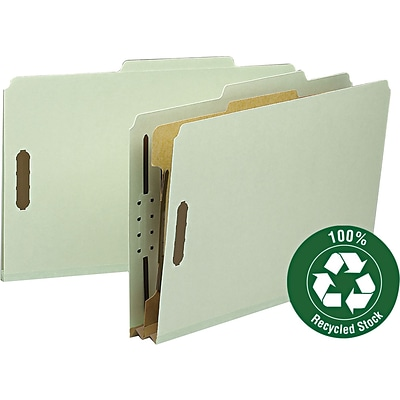 Smead® 100% Recycled Pressboard 2/5-Cut Tab Classification Folders, 2-Fasteners, 1-Partition, Legal, Gray/Green, 10/Bx (18722)