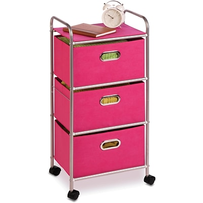 Honey Can Do® 3-Drawer Rolling Cart, Pink