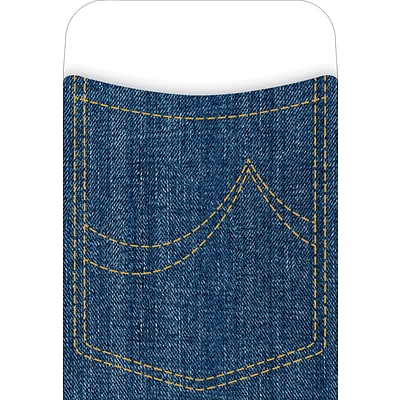 Barker Creek Peel and Stick Library Pocket, Denim Design, 30/Pack