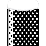 Barker Creek Peel and Stick Library Pocket, Black and White Dots Design, 30/Pack