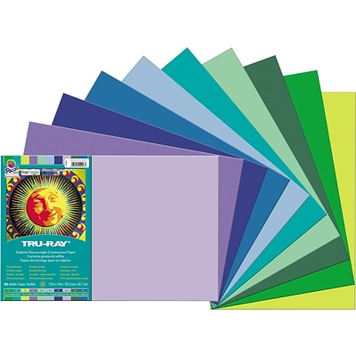 Tru-Ray 12 x 18 Construction Paper, Assorted, 25 Sheets/Pack (PAC102943)
