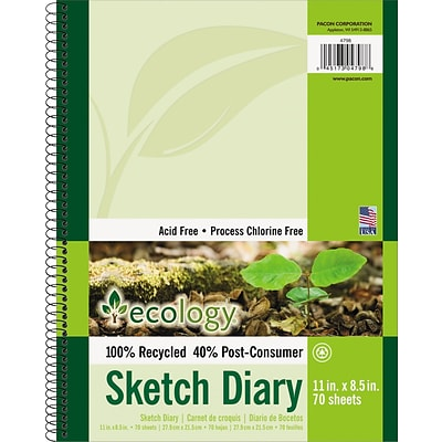 "Ecology® Sketch Diary, 11"" x 8 ½"", 70 Sheets"