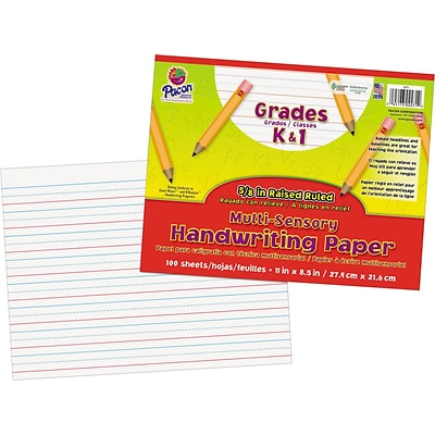 Multi-Sensory Raised Ruled Paper, 8-1/2 x 11, White, 50 Sheets/Pack