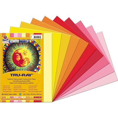 Tru-Ray®  Construction Paper, Assorted, 9 x 12, 50 Sheets/Pack