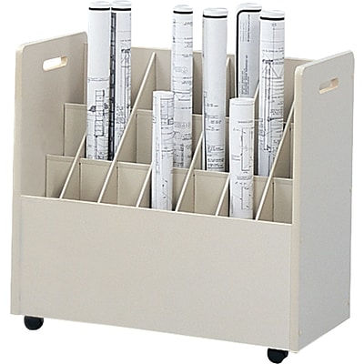 Safco® 3043 Mobile Roll File Wood Mobile Roll File, 21 Compartment