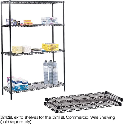 Safco® 5242 Steel Commercial Extra Shelf Pack, 48(W) x 18(D), Black
