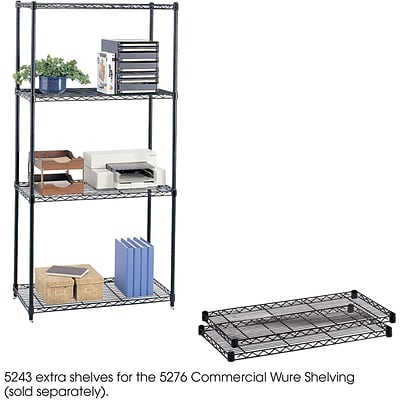 Safco® 5243 Steel Commercial Extra Shelf Pack, 36(W) x 18(D), Black