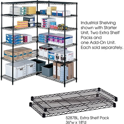 Safco® 5287 Steel Industrial Extra Shelf Pack, 36(W) x 18(D), Black