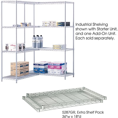 Safco® 5287 Steel Industrial Extra Shelf Pack, 36(W) x 18(D), Metallic Gray
