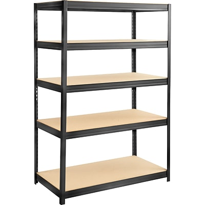Safco® 6244 Boltless Steel and Particleboard Shelving, 48(W) x 24(D), Black