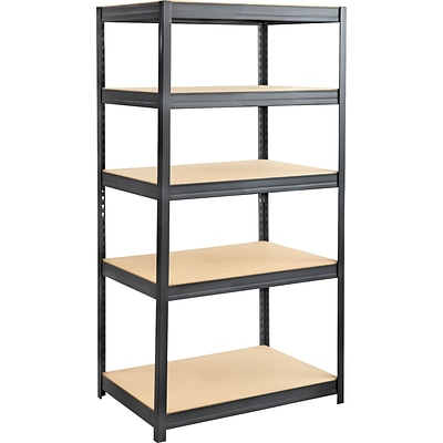 Safco® 6247 Boltless Steel and Particleboard Shelving, 36(W) x 24(D), Black