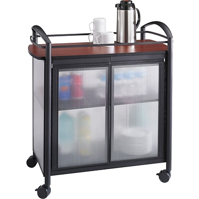 Safco® Impromptu® 8966 Refreshment Cart, Cherry Top and Black Frame