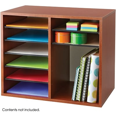 Safco® 9420 Adjustable Literature Organizer, 16(H) x 19 1/2(W) x 12(D), Cherry