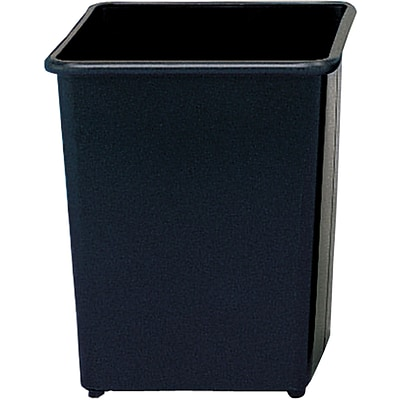 Safco® 9612 Square Wastebasket, Black, 31 quart