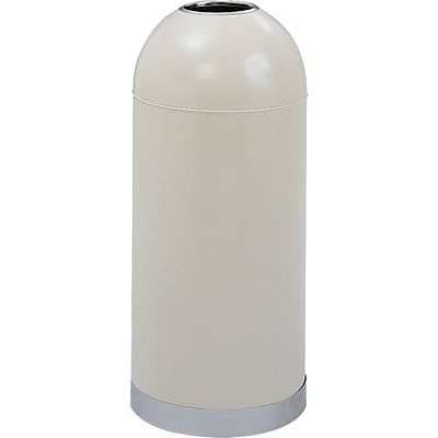 Safco 15 gal. Stainless Steel Open Top Dome Receptacle; Putty