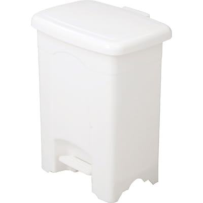Safco Step-On Receptacle Plastic Step Trash Can, White, 4 gal. (9710WH)