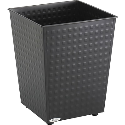 Safco 6 gal. Stainless Steel Trash Cans without Lid, Black