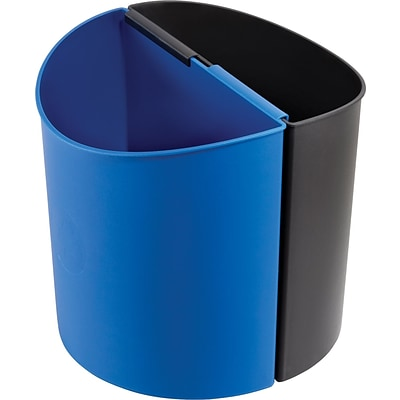 Safco Desk-Side 3 gal. Plastic Recycling Receptacle, Black/Blue