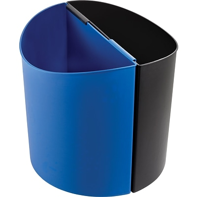 Safco Desk-Side 14 gal. Plastic Recycling Receptacle, Black/Blue