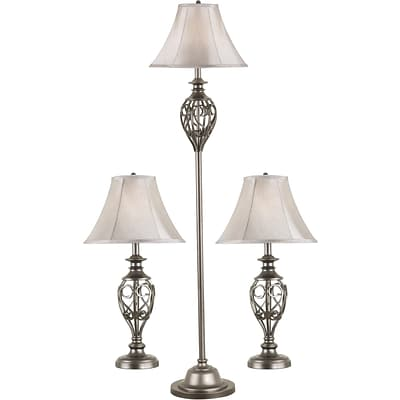 Kenroy Home Cerise Table and Floor Lamp Set, Silver Finish