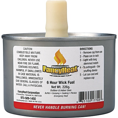Fancy Heat® Stem Wick F700 Chafing Fuel Can, 8 oz., 6 Hour, 24/PK