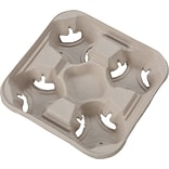 Chinet® FLIGHT Cup Holder Tray, 32 oz., 1 3/4(H) x 8 1/2(W) x 8 1/2(D), Beige, 300/PK