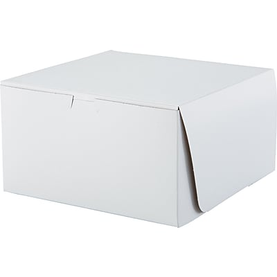 SCT® Bakery Box; 5 1/2(H) x 10(W) x 10(D), White, 100/PK