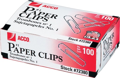 ACCO® Economy #1 Paper Clips, Smooth, Size #1, 100/Box